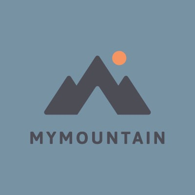 My Mountain logo on blue