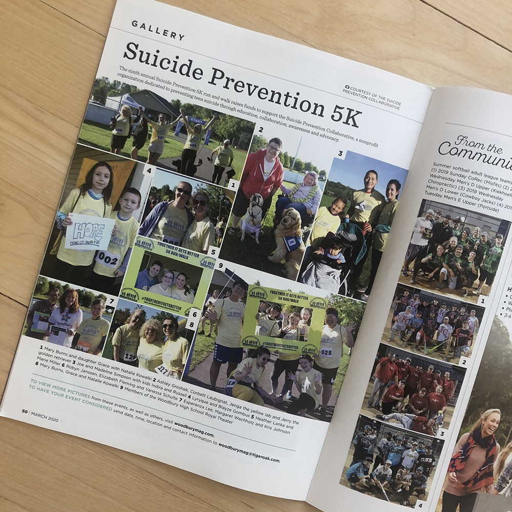 suicide prevention article in woodbury magazine