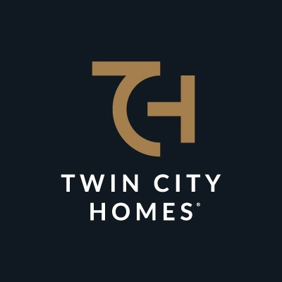 Twin City Homes reversed logo on black