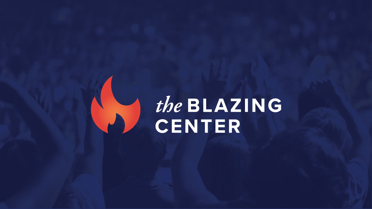 the blazing center on blue background