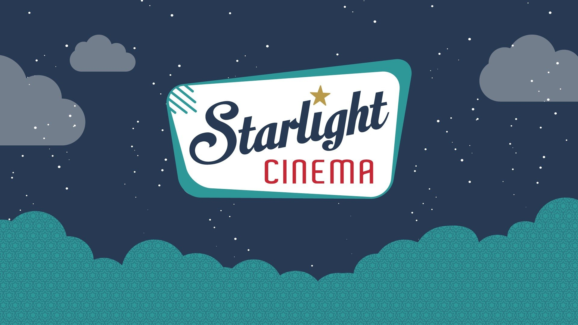 Starlight Cinema logo in sky with clouds