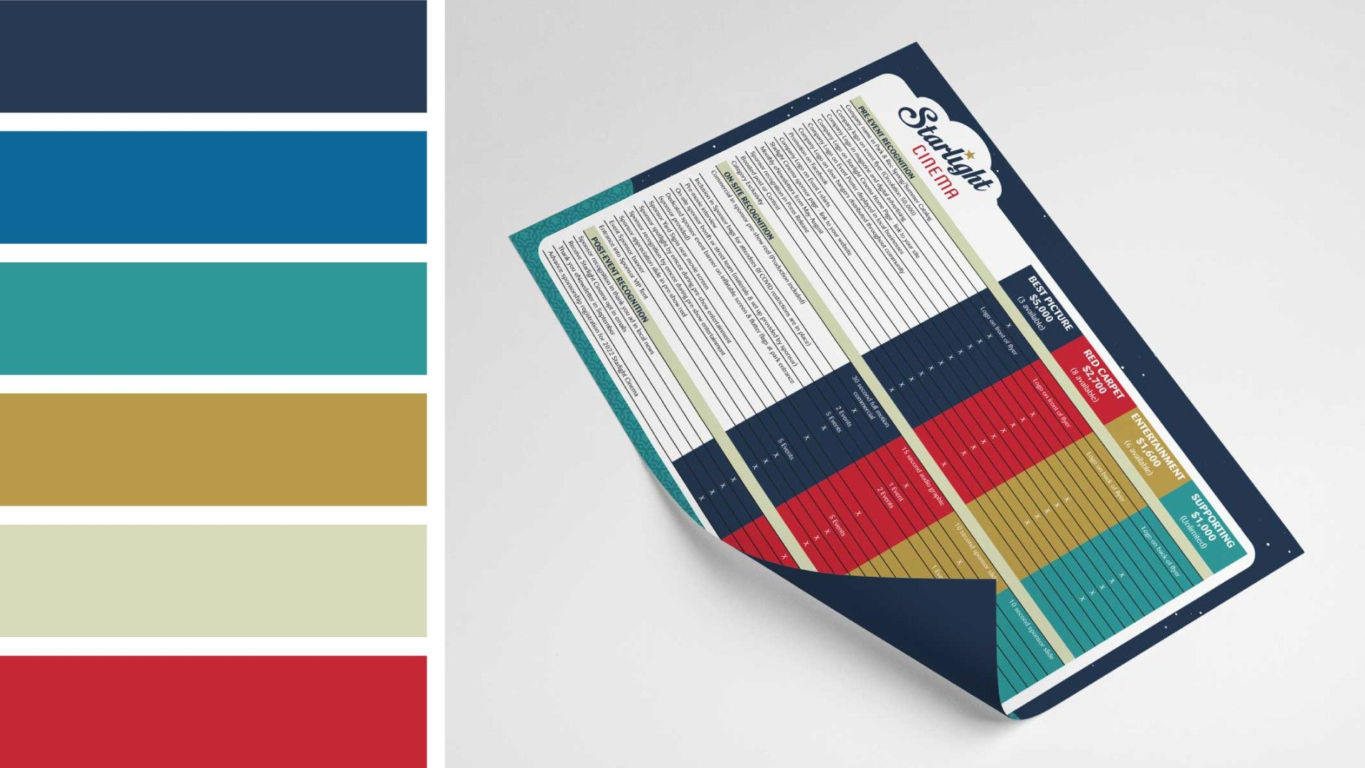 color palette and flyer
