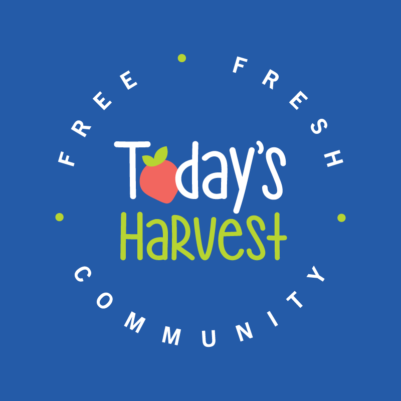 Today's Harvest circle logo on blue